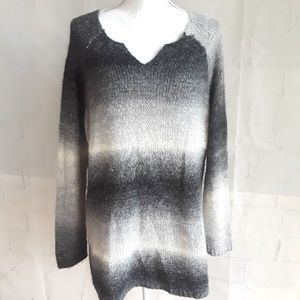Andrea Jovine Grey White Blk Ombre Striped Sweater